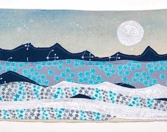 "Fabric wall art, hand-painted, nursery - ""Arctic Seafoam"""