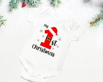 My First Christmas Baby Onesie Bodysuit \u2013 Red