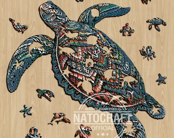 NatoCraft Wooden Jigsaw Puzzle, Premium Materials, Impressive Artwork, Ideal Gifts for Kids, Family Games, Kids & Adults Puzzles, Sea Turtle