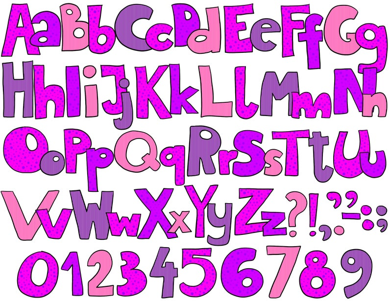 Alphabet Clip Art Hand Drawn Doodle Purple Pink Clipart Cards Download Free Commercial Use Png Clip Art Art Collectibles Sultraline Id