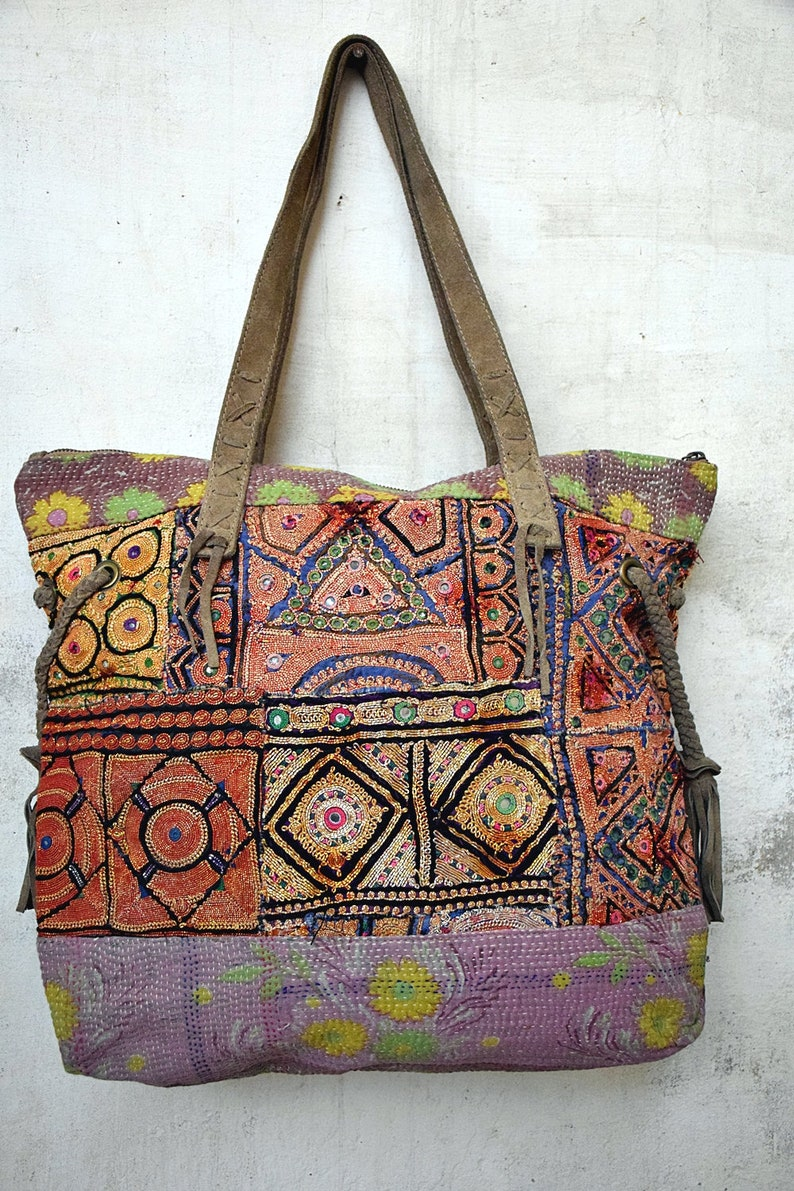 Hand Embroidered Patch Work One Of A Kind Banjara Tote Bag Woman leather bag Hand Bags Leather Shoulder Bag Leather Tote Bag Zipper