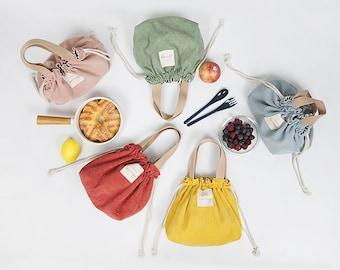 Colorful Corduroy Lunch Bag, Eco Shopping Bag, Tote Bag, Casual Shoulder Bag, Korean Style Canvas Bag, Picnic, Work, School, Hongssi