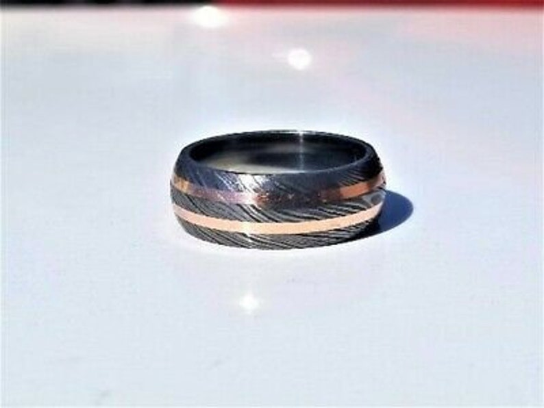 Damascus Steel Ring Band Copper Outer Liner Steel Shall Custom Width