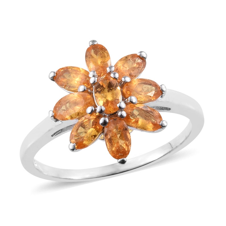 195 Sterling Silver Floral Citrine Engagement Ring Oval Cut Yellow Gemstone Promise Ring Flower Cluster Ring Art Deco Wedding Ring
