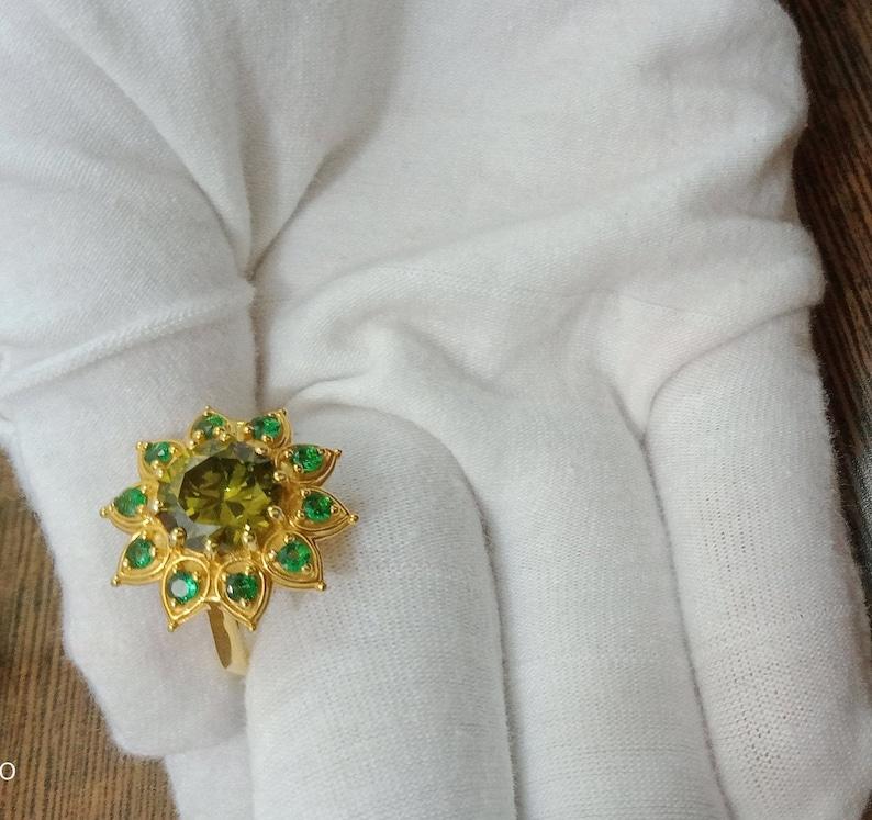 Engagement Ring Designer Ring Natural Green Stone Flower Ring Bridal Set Wedding Ring Women Ring Anniversary Ring Unique Style Ring