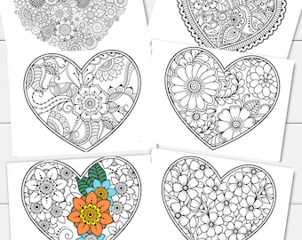 Heart Coloring Pages Etsy