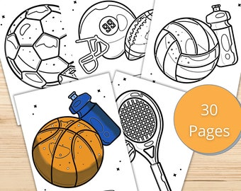 Sports Coloring Etsy