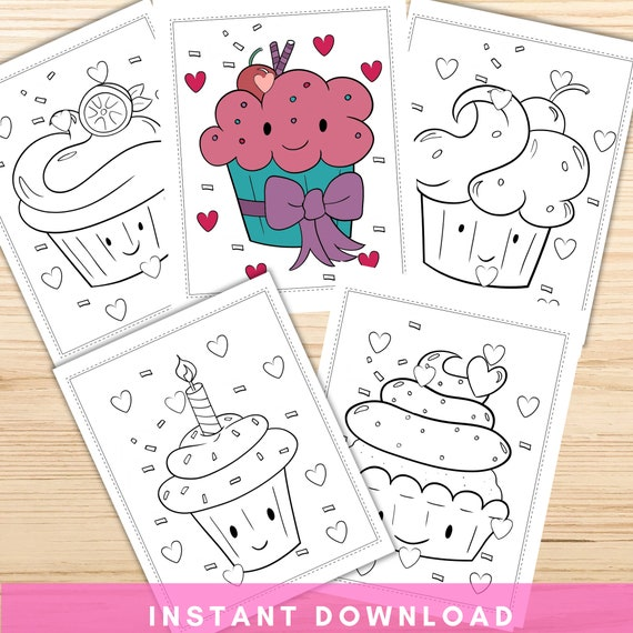 Kawaii Cupcake Coloring Pages Printable Coloring Pages