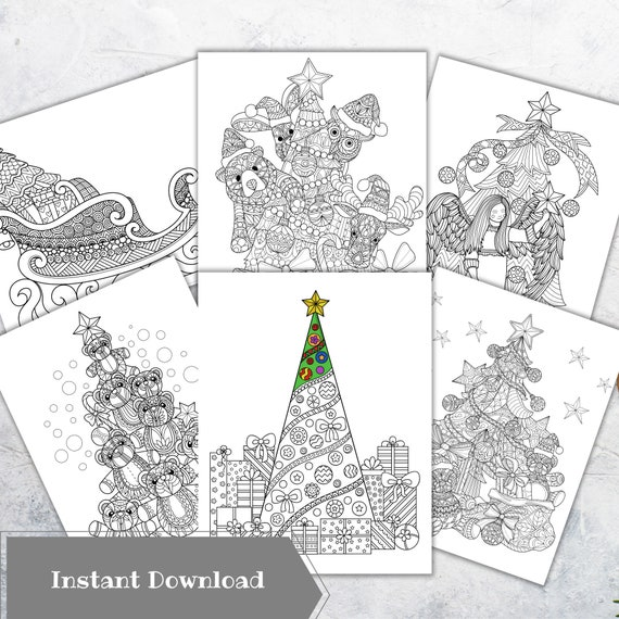 Christmas Coloring Pages For Adults Christmas Tree Printable Etsy