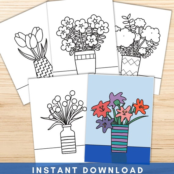 Flower Vase Coloring Pages for Kids  Easy Flower Coloring