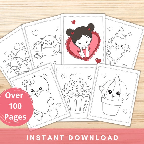 100 Valentine's Day Coloring Pages for Kids Printable