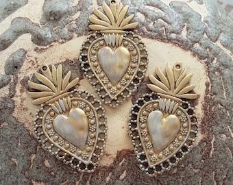 Sacred Heart Ornaments Milagros Turquoise Blue Juliet Ex Voto Flaming Heart Christmas Art Nouveau Catholic Milagro Romeo Immaculate