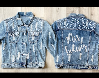 Custom Bride Jean Jacket, Pearl Jean Jacket, Personalized Jean Jacket for Teens and Adults