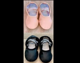 Custom Swarovski Rhinestone Ballet Shoes for Toddlers, and Kids