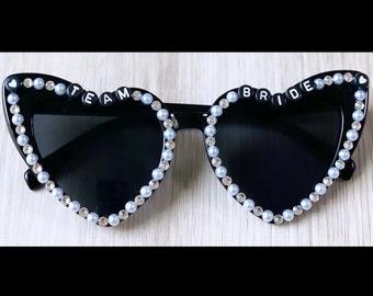 Personalized and Custom Adult Heart, Pearl and Swarovski Rhinestone Sunglasses, Bride Sunglasses, Bachelorette Sunglasses
