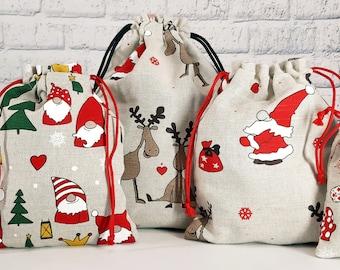 Christmas sack, Christmas gift bag, Christmas reusable bags, Xmas pouch, Santa sack, gift wrap bags, Christmas packaging, fabric gift bags