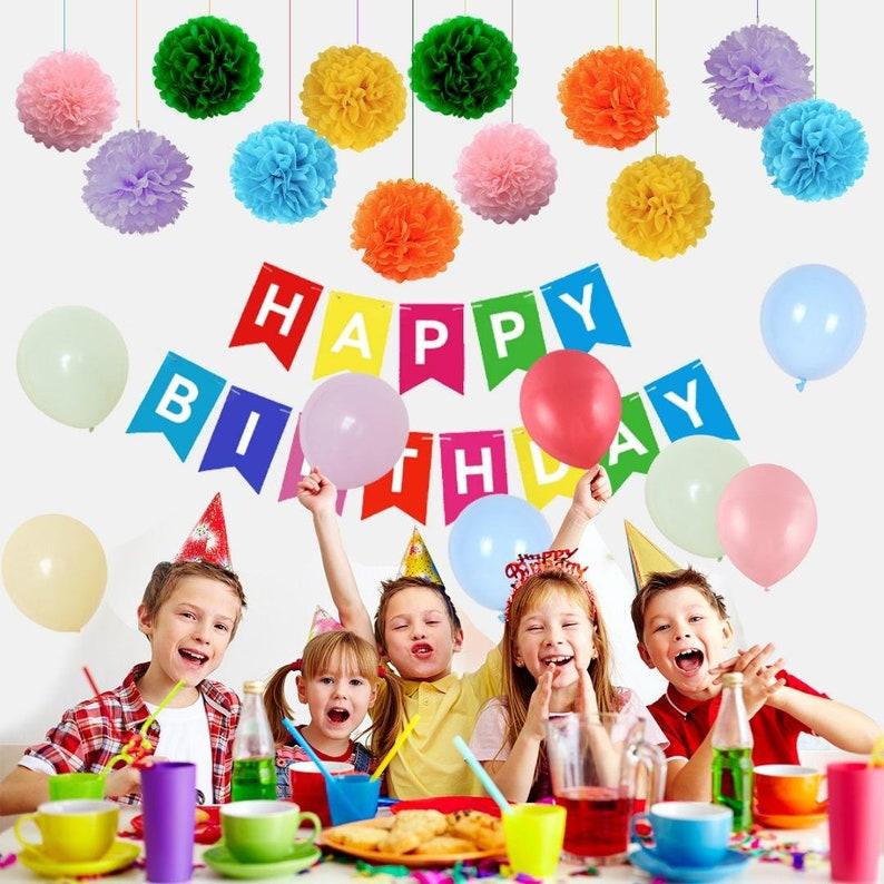 Free Balloon Pump Happy Birthday Banner 74 PCS POM POMS Birthday Decoration Set Premium Reusable Birthday Party Decorations