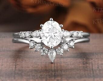 Oval Moissanite Engagement Ring Set,1CT Moissanite ring,Vintage Crown ring,Art Deco Seven Stone ring,Curved Wedding band,Chevron V ring