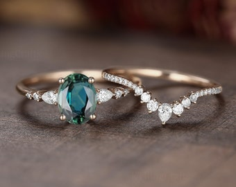 Vintage Teal Sapphire Engagement Ring set,Blue Green Sapphire Ring Set,Stacking ring.Rose Gold,Unique pear diamond Cluster ring Bridal ring