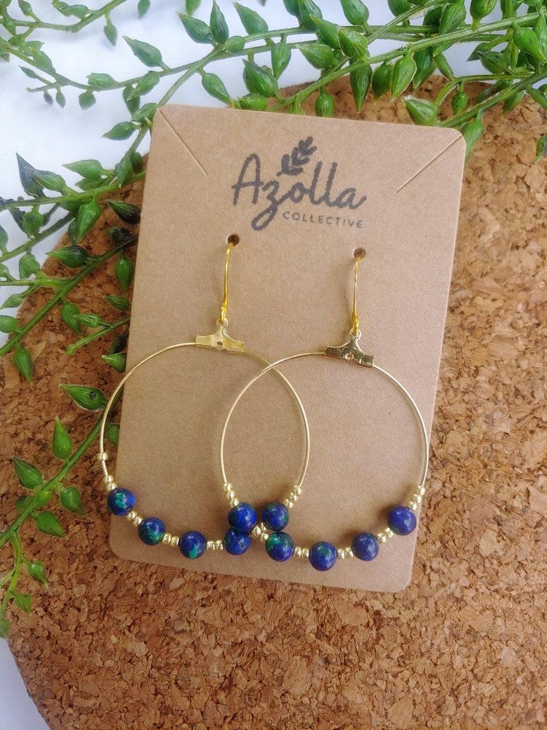 Azurite Dangle Hoop Earrings Beaded Gemstone Earrings Handmade Jewelry