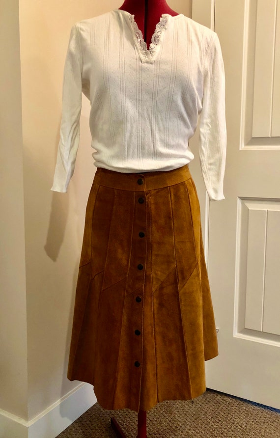 70s suede skirt 70s brown skirt a-line skirt vinta