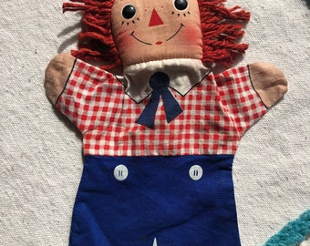Raggedy Andy puppet, vintage puppet, vintage raggedy Andy puppet, 1970 raggedy Andy