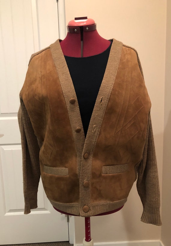 Vintage 50's Tundra suede & wool knit cardigan