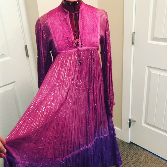 1970's Pink bohemian gauze dress with gold details