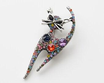 Cat Brooch Pin Badge Gift Pendant Jewellery Kitten Rhinestone Vintage Style Lady