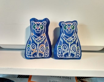Embroidered Bear Stuffie / Stuffed Animal, Repurposed Fabric