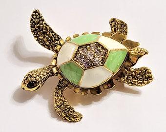 Tortolani Gold plated Amber glass Turtle brooch