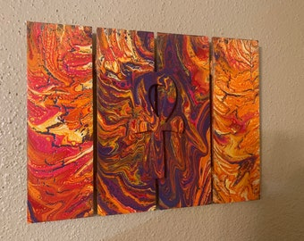 Abstract painting with 3D ankh - Acrylic pour | 16x20in | canvas | fluid painting | original abstract artwork