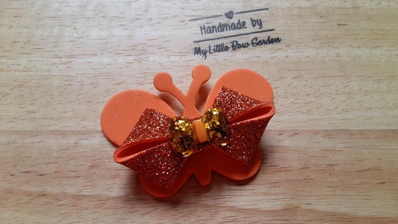 Beautiful Orange Glittery Hair Bow Butterfly Hair Bow Hair Accessories. Hair Barrettes Handmade Hair Bows Girls Hair Bows Hair Clips