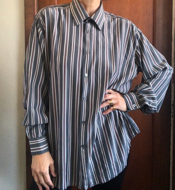 Vintage LANVIN striped silk dress shirt men's XL