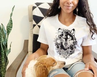 Wolf With Flowers Dog Mom Tee Gift For Dog Lover, Fur Mama Cute Dog Shirt, Funny Dog Mom Gift For Her