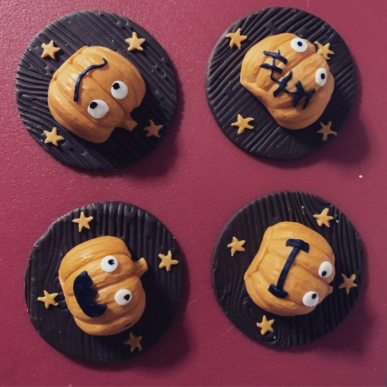 4 Halloween Cute Pumpkins Fondant Cupcake Toppers