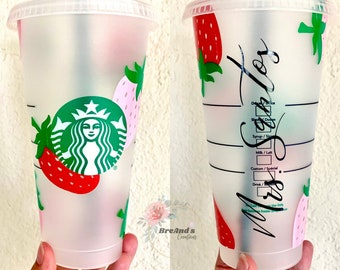Strawberry Starbucks Venti Cold cup Tumbler, personalized, custom, summer, fruit, includes clear coat