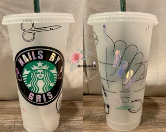 Nail Tech Starbucks Cup, Manicurist, Nails, Reusable, cold cup, venti, tumbler, profession, obsession, includes clear coat