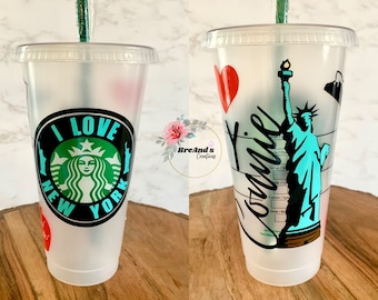 New York Starbucks Cup, I love New York, NYC, The Big Apple, includes clear coat