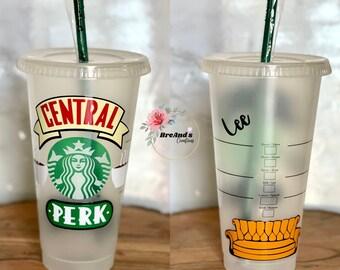 Friends Central Perk Starbucks Cup, venti, custom, friends the show, clear coat,