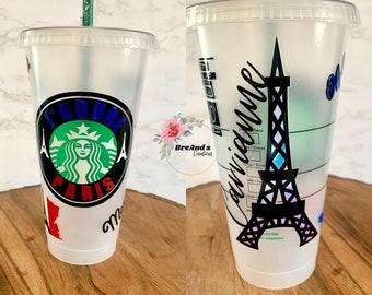 Paris Starbucks Cup, France, I love Paris, oh la la, merci, Eiffel Tower, includes clear coat