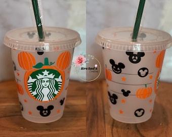 Halloween Pumpkin Starbucks cold cup, grande, venti, Disney, mickey, kids, tumblers, reusable, mouse ears