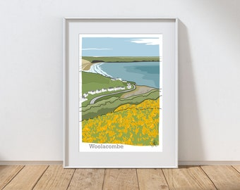 Woolacombe, Devon print signed by the artist