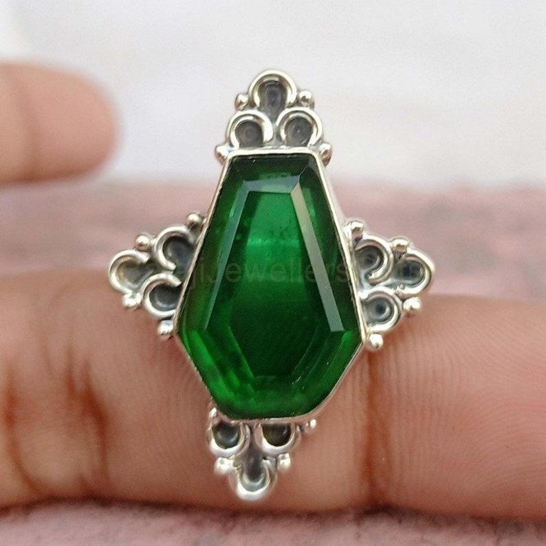 Coffin Ring Dioptase Quartz Gemstone Ring 925 Sterling Silver Ring Handmade Rings For Women Gift Her Ring Statement Anxiety Ring B126