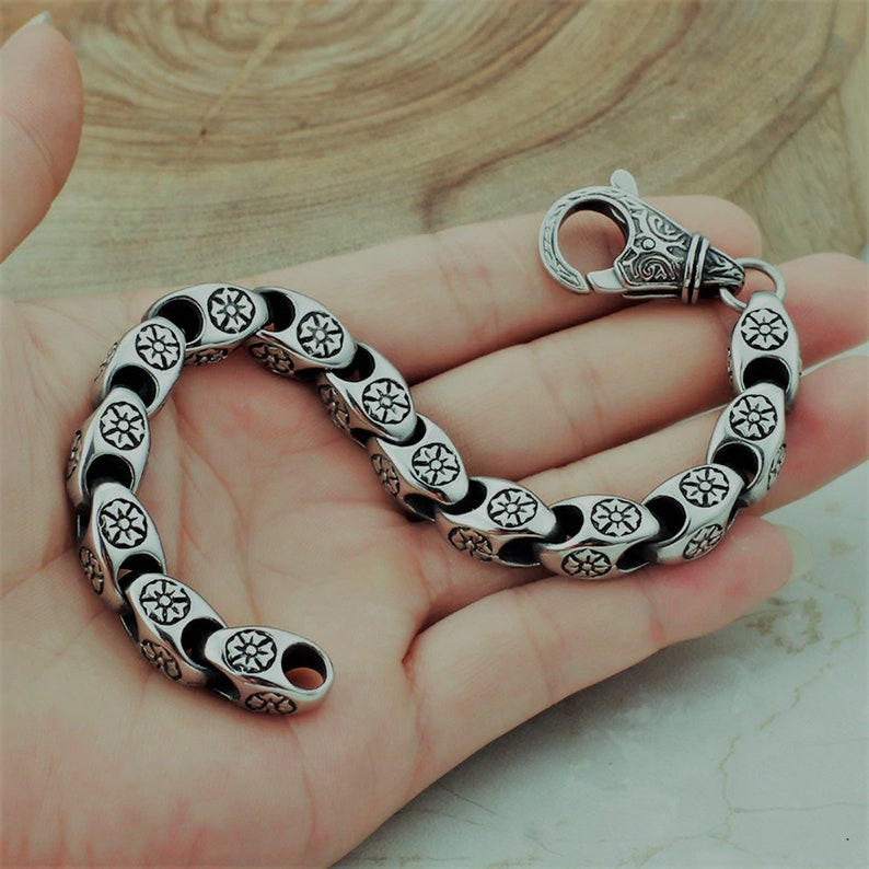 Flower Power Vintage Chain Stainless Bracelet 316L Steel Retro Hippie Box Chain Men Women Wristband Bracelet
