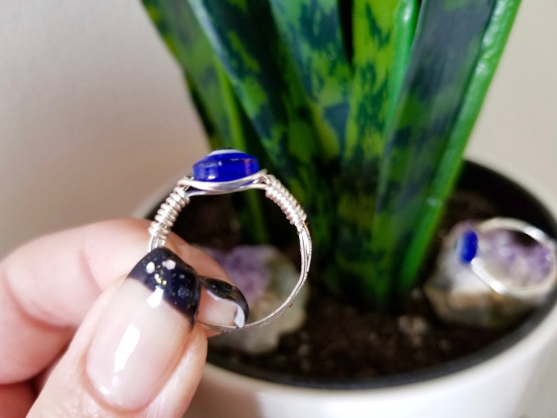crystal ring blue eye ring| MADAME SPOOKY evil eye jewelry Evil Eye Wire Wrapped Ring gemstone gifts metaphysical gifts