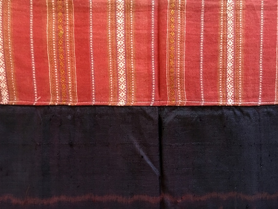Vintage Mudmee Ikat Thai Sarong Cotton Silk Handwo