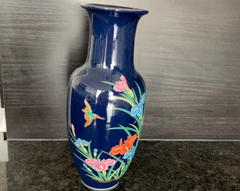 Vintage Deep Blue porcelain vase, classic shape with flowers and exotic bird design, made in Japan