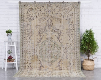 6x9 Vintage Rug, Brown Turkish Area Rug, Bedroom Rug, Wool Anatolian Oushak Carpet, Living Room Rug, Boho Rug, Antique Rug, Decorative Rug