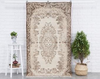 4x7 Vintage Rug, Beige Turkish Area Rug, 4x7 Oushak Rug, Bedroom Rug, Kitchen Rug, Entryway Carpet, Medium Wool Anatolian Rug, Boho Rug
